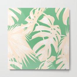 Tropical Coral Green Palm Leaf Pattern Metal Print