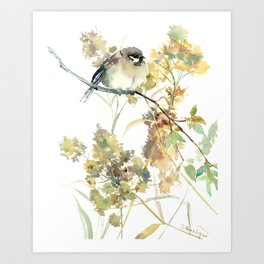Sparrow and Dry Plants, fall foliage bird art bird design old fashion floral design Art Print