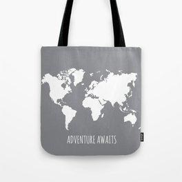Adventure Awaits Map Tote Bag