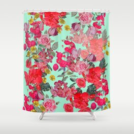 Antique Vintage Floral with Mint Green/Seafoam Background Shower Curtain