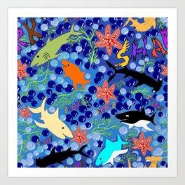 Happy Sharks! Art Print