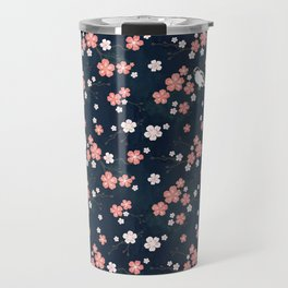 Navy blue cherry blossom finch Travel Mug