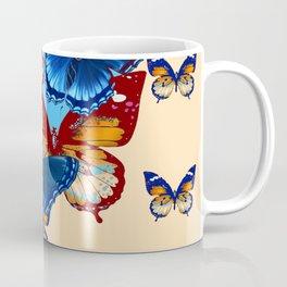 #2 MODERN ART DECORATIVE BLUE-BROWN  BUTTERFLIES Coffee Mug