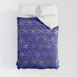 Flower of life pattern - Lapis Lazuli and Gold Comforters