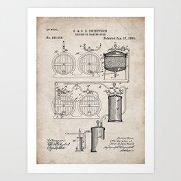 Brewery Patent - Beer Art - Antique Art Print