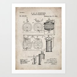 Brewery Patent - Beer Art - Antique Art Print