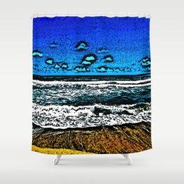 Ocean, Sky, Beach, and Sand Shower Curtain