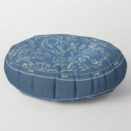 Constellations of the Northern Sky - Negative version Floor Pillow