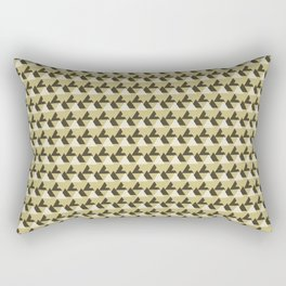 Gold and White Abstract Triangles Geometric Pattern Rectangular Pillow