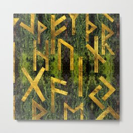 Vintage Gold Runic alphabet on tree bark Metal Print