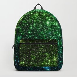 Glitter Galaxy Stars Green Teal Ombre Backpack