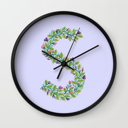 Leafy Letter S Wall Clock