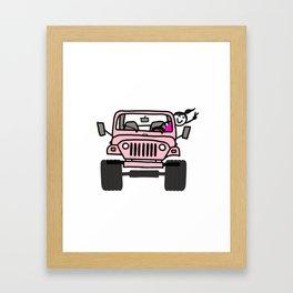 Jeep Wave Pink - Girl Framed Art Print