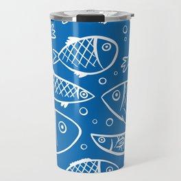 Fish blue white Travel Mug