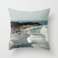 rowing Throw Pillows featuring Torquay Heads - Rowing Regatta - Australia by Chris' Landscape Images & Designs