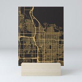 SALT LAKE CITY UTAH GOLD ON BLACK CITY MAP Mini Art Print