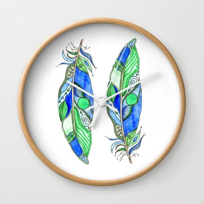 Bohemian Spirit Feathers - Blue & Green Wall Clock