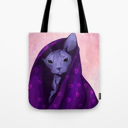 Snug Bug - Black Sphynx Cat Snugged in a Purple Heart Print Blanket Tote Bag