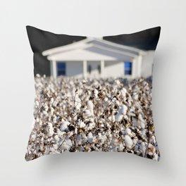Little Church in the cotton field Throw Pillow