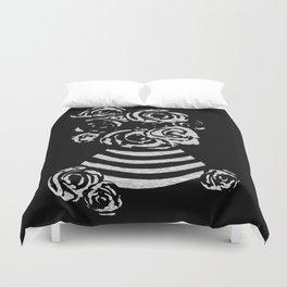 Crinkled Roses in Black & White Striped Vase Duvet Cover