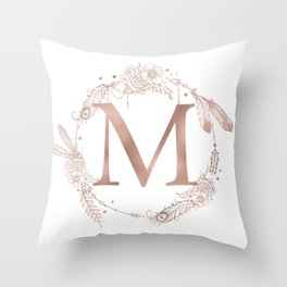 Letter M Rose Gold Pink Initial Monogram Throw Pillow