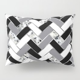 Shuffled Marble Herringbone - Black/White/Gray/Silver Pillow Sham