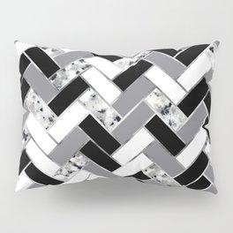 Shuffled Marble Herringbone - Black/White/Gray/Silver Pillow Sham