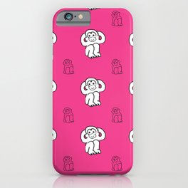 White monkeys on pink background iPhone Case