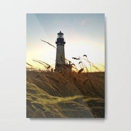 Yaquina Bay Lighthouse at sunset Metal Print