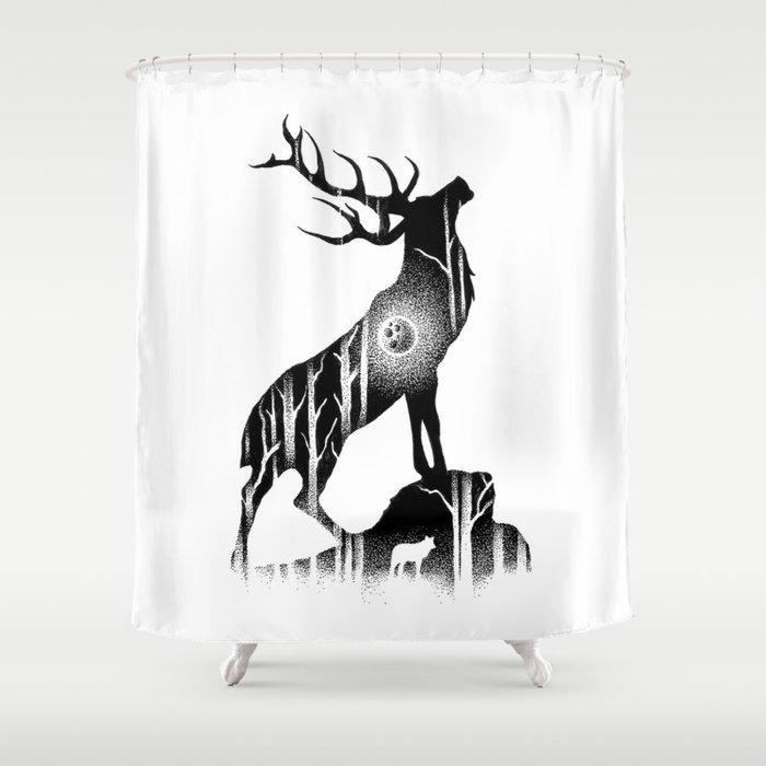 GIANT ELK Shower Curtain By Thiagobianchini