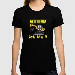 Achtung! Ich bin 3 Geburtstag baufahrzeuge bagger, T-shirt