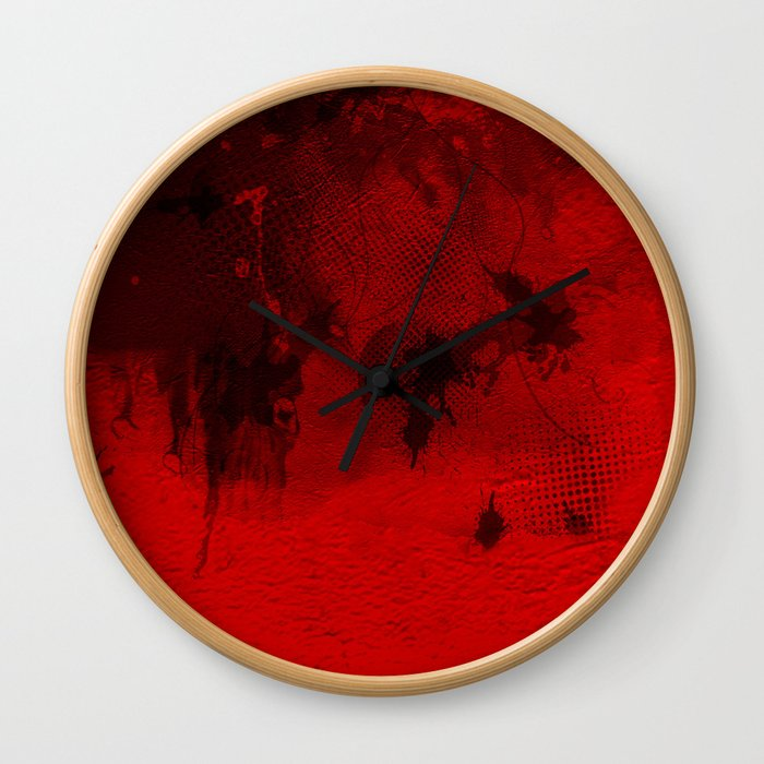 Modern Contemporary Red and Black Abstract Art Wall Clock
