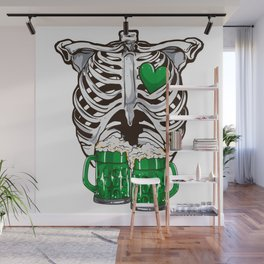 St Patrick's Day Skeleton Love Green Beer Wall Mural