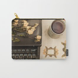 Little roses over an old typewriter and tea (Retro and Vintage Still Life Photography) Carry-All Pouch