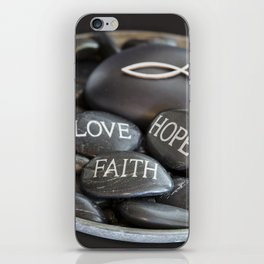 Love Faith Hope Christian Quote Black Pebble Embossing iPhone Skin