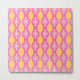 Mid Century Modern Ogee Pattern 150 Pink Beige and Yellow Metal Print