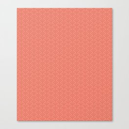 Pantone Living Coral Scallop Wave Pattern and Polka Dots Canvas Print
