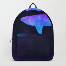 SHARK IN SPACE // Animal Graphic Art // Watercolor Canvas Painting // Modern Minimal Cute Backpack