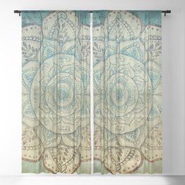 Faded Bohemian Mandala Sheer Curtain