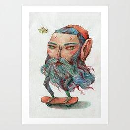 Bluebeard Skater and a takeaway pet Art Print