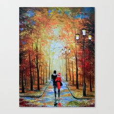 romantic autumn stroll Canvas Print