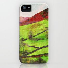 Green Grasmere Hillside, Ambleside, Lake District UK iPhone Case