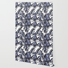 Classic Palm Leaves Navy Blue Wallpaper