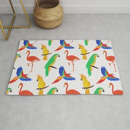 Tropical Birds Pink Background Rug