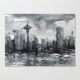 Seattle Skyline Painting Watercolor Black and White Space Needle Canvas Print