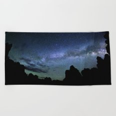 Milky Way Mountains Silhouette Beach Towel