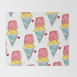 Love You More Than Ice Cream Pattern Food Illustration Love Painting Throw Blanket