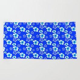 Blue Floral And Turtles Hawaiian Pattern Beach Towel