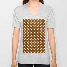 Small Polka Dots - White on Chocolate Brown Unisex V-Neck