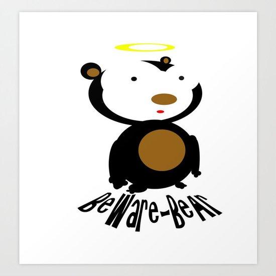 Beware Bear Art Print